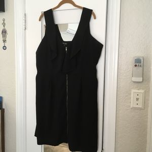 City Chic Zip Front Black Tunic Dress